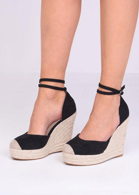 Faux Suede Lace Up Espadrille Wedge Sandals Black