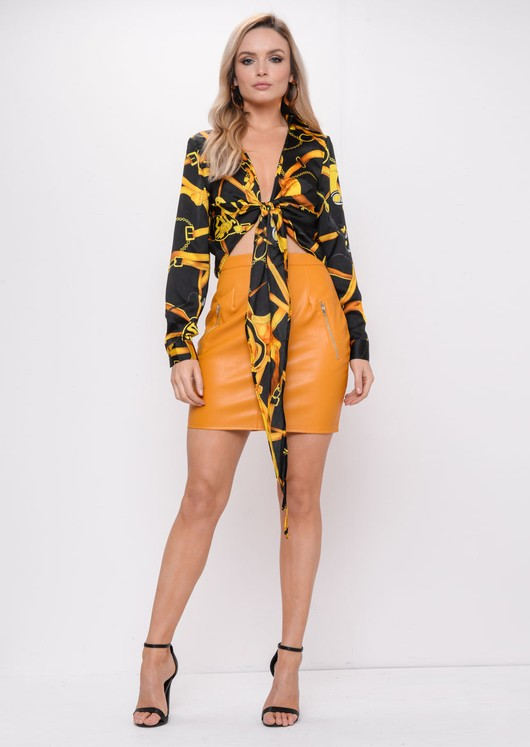 Yellow Scarf Print Crop Tie Front Shirt Black
