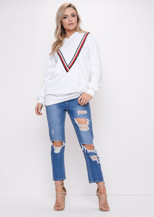 Stripe Hooded Sweatshirt Jumper White