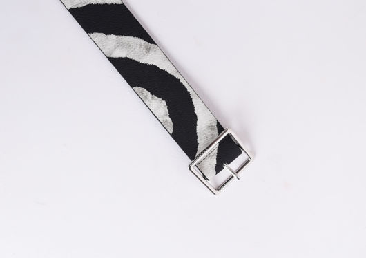 Zebra Print Square Buckle Belt Multi