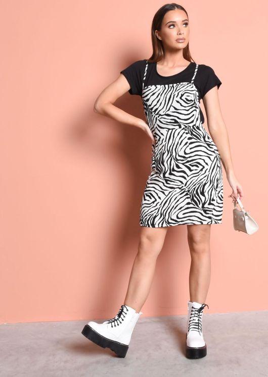 Zebra Print Strappy Dress Black