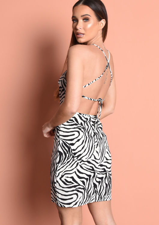 Zebra Print Strappy Dress Black