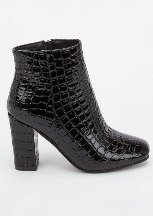 Zip Croc Patent Round Toe Ankle Boots Black