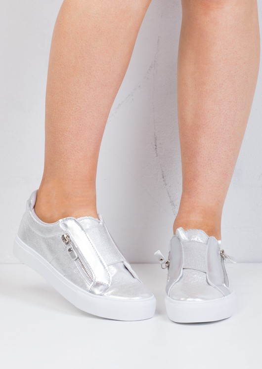 Zip Detail Slip On Pumps Sneakers Silver