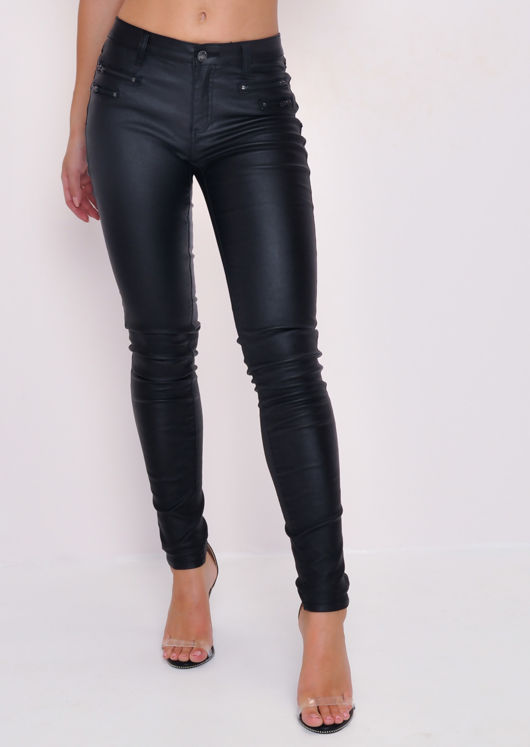 Zip Detail Wet Look Trousers Black
