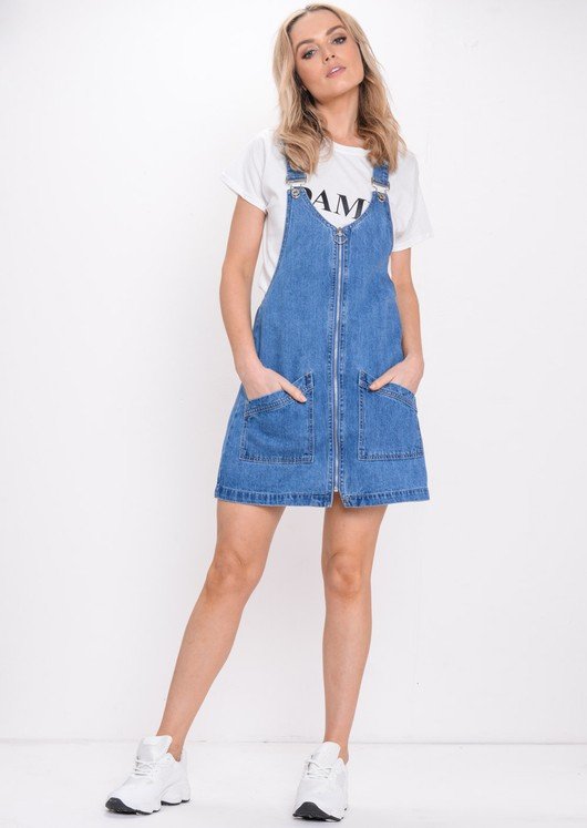Zip Front Denim Pinafore Dress Blue