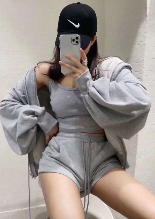 Zip Front Hooded Sweater Loungewear 3 Pieces Set Grey