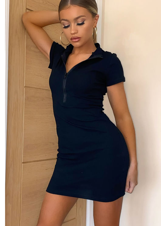 Zip Front Ribbed Bodycon Dress Black