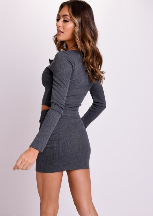 Zip Front Ribbed Cardigan Top Mini Skirt Co Ord Set Grey