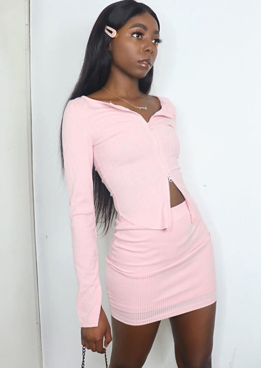 Zip Front Ribbed Cardigan Top Mini Skirt Co Ord Set Pink