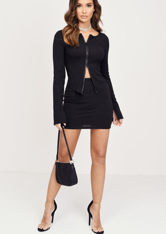 Zip Front Ribbed Cardigan Top Mini Skirt Co Ord Set Black