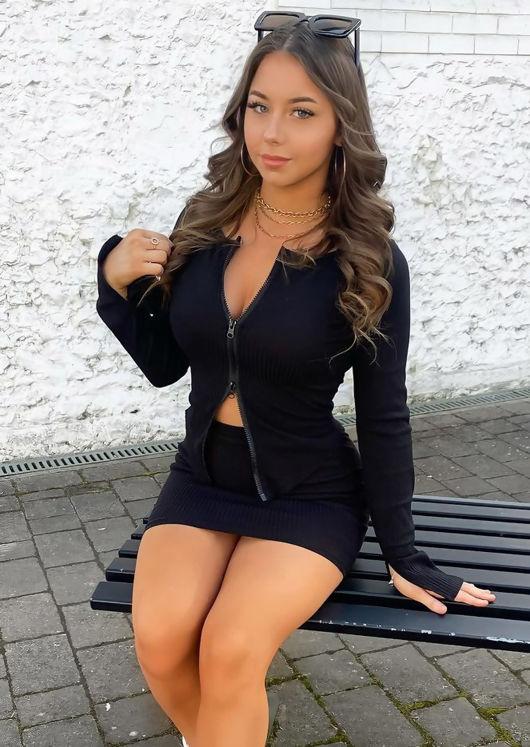 Zip Front Ribbed Cardigan Top Mini Skirt Co Ord Set Black