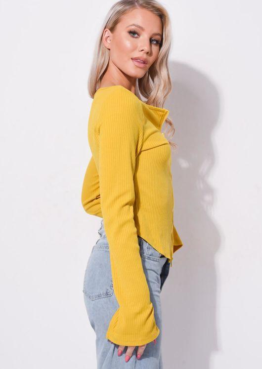Zip Front Ribbed Cardigan Top Yellow