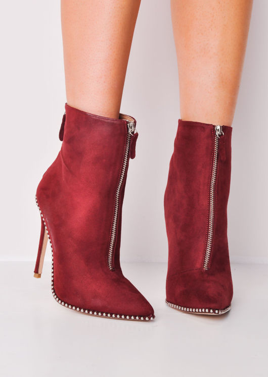 Zip Front Studded Stiletto Ankle Boots Red