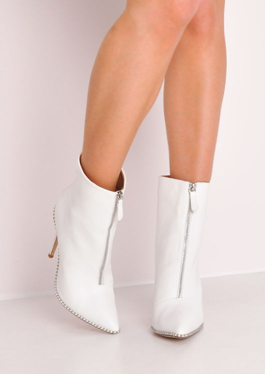 Faux Leather Zip Front Studded Stiletto Heeled Ankle Boots White