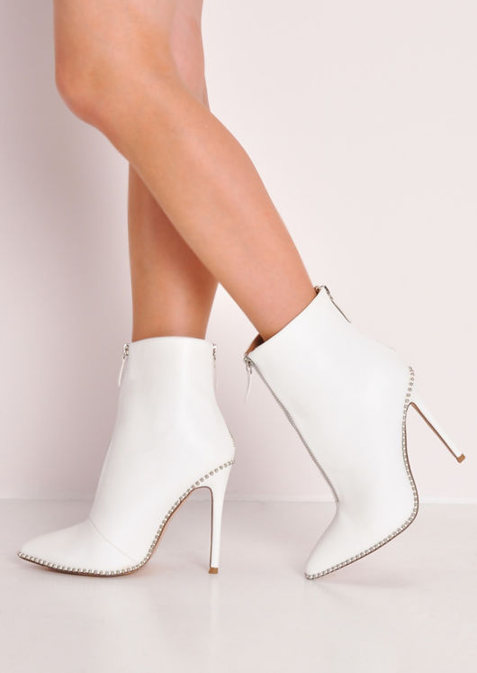 ae15845904f Leather Zip Front Studded Stiletto Heeled Ankle Boots White | Lily Lul