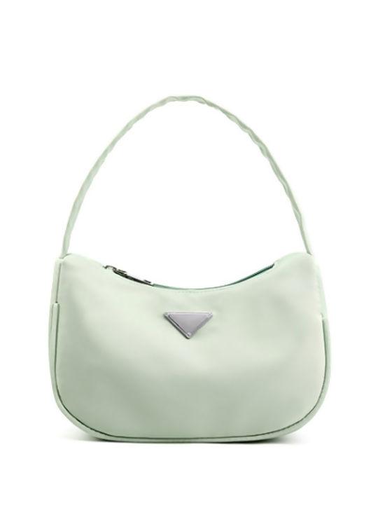 Nylon Zip Half Moon Mini Tote Bag Green