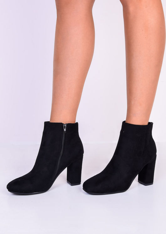 Zip Suede Round Toe Ankle Boots Black
